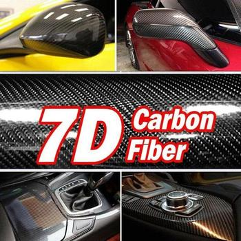 цена на High Quality 7D High Glossy Carbon Fiber Vinyl Film Car Styling Wrap Motorcycle Styling Accessories Interior Carbon Fiber Film