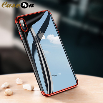 Crystal Clear Silicon Plating Soft TPU Case for iPhone X 10 XS MAX XR Shockproof Bumper Chrome Cover for iPhone 8 7 6 6s Plus image