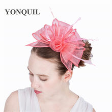 cute pink kentucky sinamay fascinators with feather cocktail party hat  wedding headwear NEW ARRIVAL high quality 163dbfefc2a2
