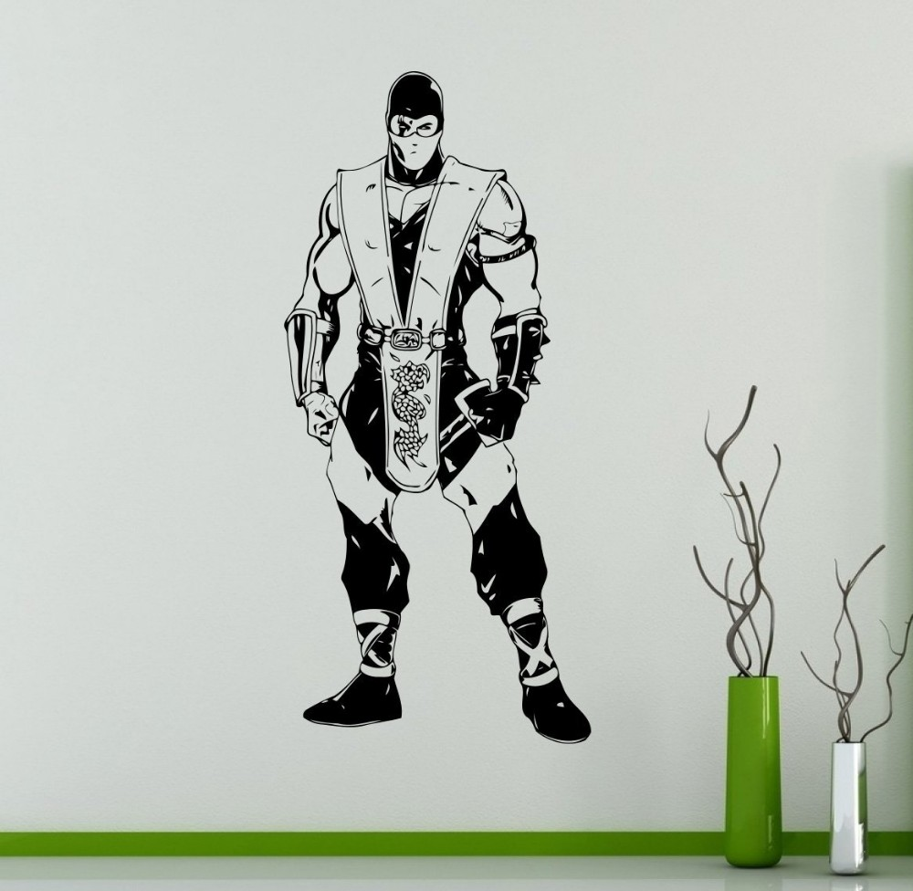 Fighting Games Mortal Kombat Wall Decal Art Design Removable Vinyl Waterproof Stickers Home Decoration Boy Room