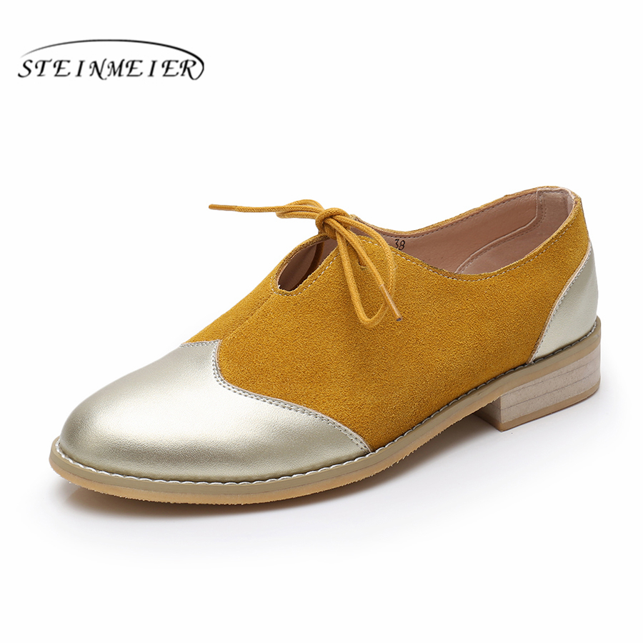 Women flats cow leather ladies shoes woman casual heels creepers handmade oxford spring summer shoes for women vintage shoes