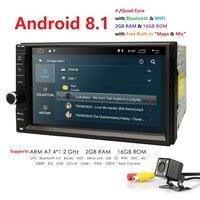 Hizpo 4 ядра 7 2Din Android 8,1 автомобиль NO DVD Радио мультимедийный плеер 1024*600 универсальный gps навигации авто стерео аудио