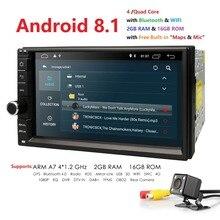 Hizpo 4 ядра 7 «2Din Android 8,1 автомобиль NO-DVD Радио мультимедийный плеер 1024*600 универсальный gps навигации авто стерео аудио