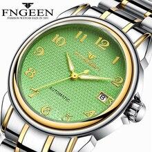 FNGEEN 2020 Male Clock Luminous Men Mechanical Watches Stainless Steel Strap Men