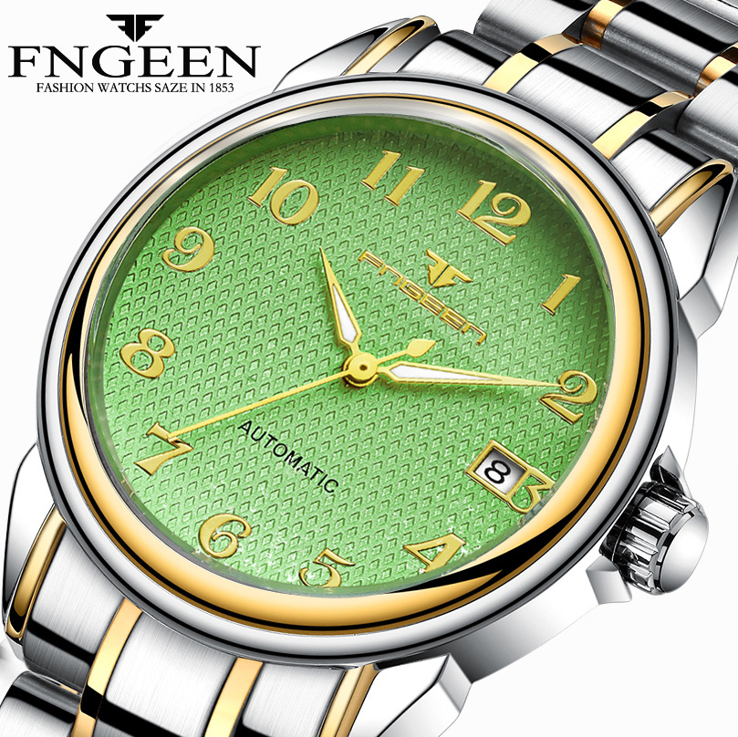 FNGEEN 2018 Male Clock Luminous Men Mechanical Watches Stainless Steel Strap Mens Watches Top Brand Luxury Automatic Wristwatch men gold watches automatic mechanical watch male luminous wristwatch stainless steel band luxury brand sports design watches