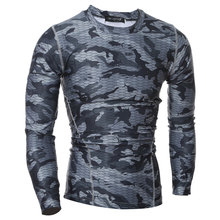 2016 New 2 Color Sharks Camouflag Solid Base Layers T shirts Mens Compression tights Long sleeve Fitness Thermal Tops Gear M-XXL