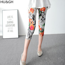HU&GH Painted Flowers Printed Women Mid-Calf Leggings Chinese style Ink Painting Print Leggins Pant Female Casual Trousers свитшот print bar hu at photoshoot1