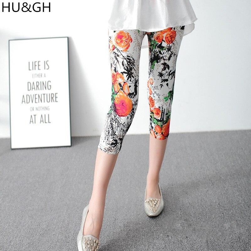 ARDLTME Painted Flowers Printed Women Mid-Calf   Leggings   Chinese style Ink Painting Print Leggins Pant Female Casual Trousers