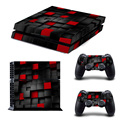 Black and Red Painted Vinyl Game Protective Skin Sticker For Playstation 4 Decal Cover Sticker For PS4 Console +2 Controller