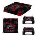 Pintado de negro y rojo juego de vinilo etiqueta piel protectora para playstation 4 cubierta de pegatinas decal para ps4 consola + 2 controlador