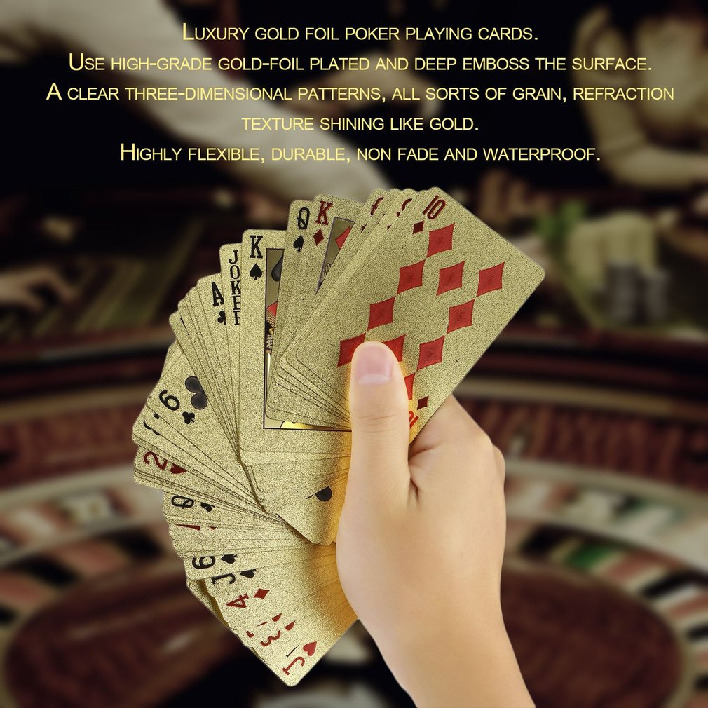 Portable Size Durable 24K Gold Foil Plated Playing Cards Adult Play Game Gold Foil Poker Card Playing Cards Best Gift