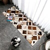 Американский стиль Роскошные теплые Прошитые бегун ковры, длинные Размеры натуральный Коускин прикроватной тумбочке ковры, мех