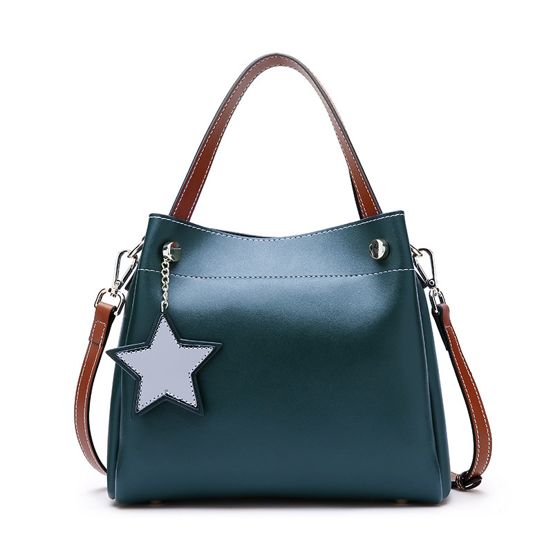 New European and American style ladies leather bucket bag leather large capacity multi-color shoulder Messenger bag