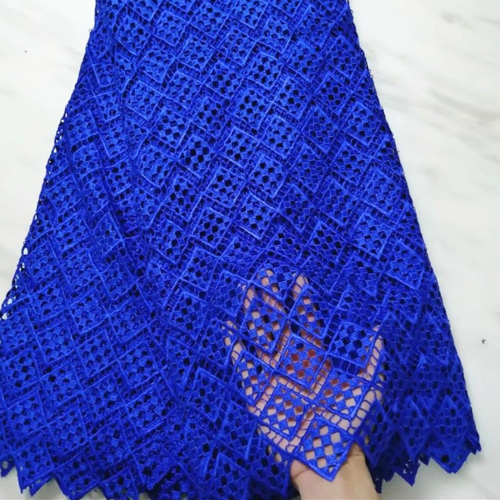 5Yards/pc Hot sale royal blue african water soluble lace embroidery french guipure lace fabric for dressing BW59-55Yards/pc Hot sale royal blue african water soluble lace embroidery french guipure lace fabric for dressing BW59-5