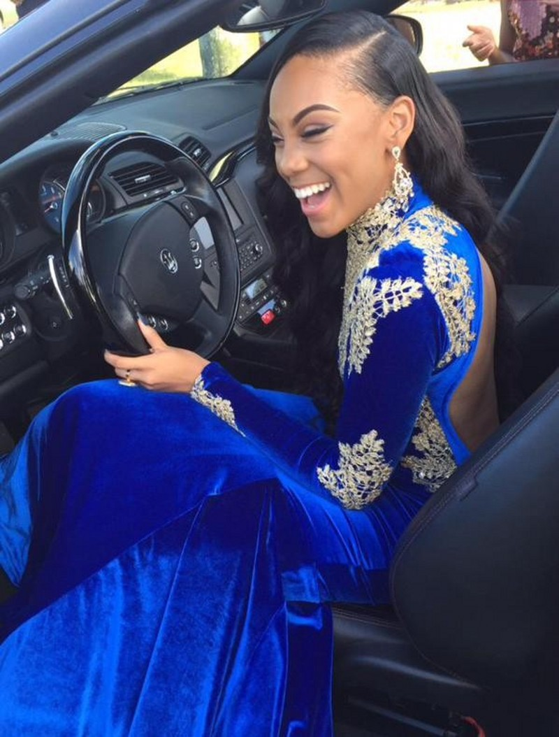 Sexy Royal Blue Evening Dress 2015 Robe de soiree High Neck Open Back Long Sleeve Mermaid Appliques Prom Dresses in Evening Dresses from Weddings Events