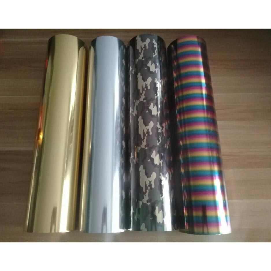 Frete grátis cor rica 1 folha 25cm x 50 metálico & laser de transferência calor vinil camuflagem arco-íris ferro no filme htv diy t camisa