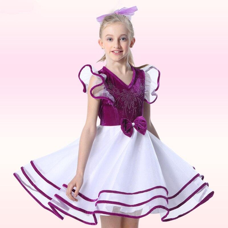 Bridal Design Girls Petal Sleeve Dress Gorgeous Elegant Sequined Flower Children Latin Dance Costume Kids Performance Wear