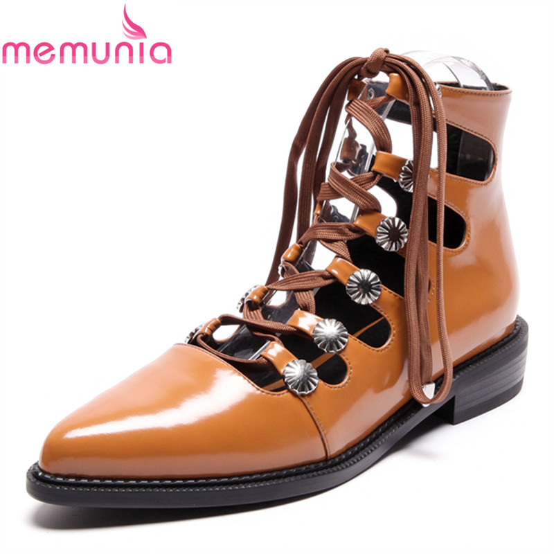 MEMUNIA 2018 new arrival lace up women shoes low heel pointed toe classics genuine leather solid balck fashion casual shoes memunia  new arrival simple pu leather