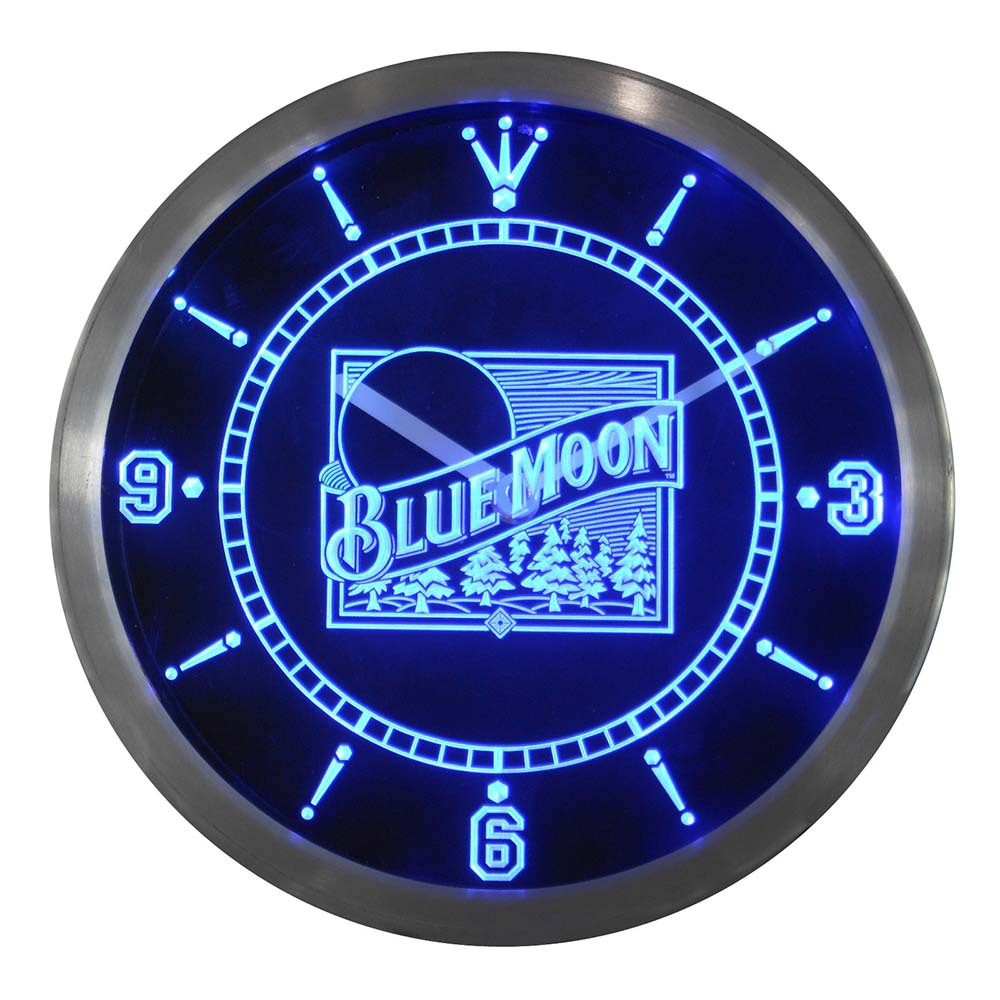 Nc0121 Bière Blue Moon Bar Pub Logo Néon LED Horloge