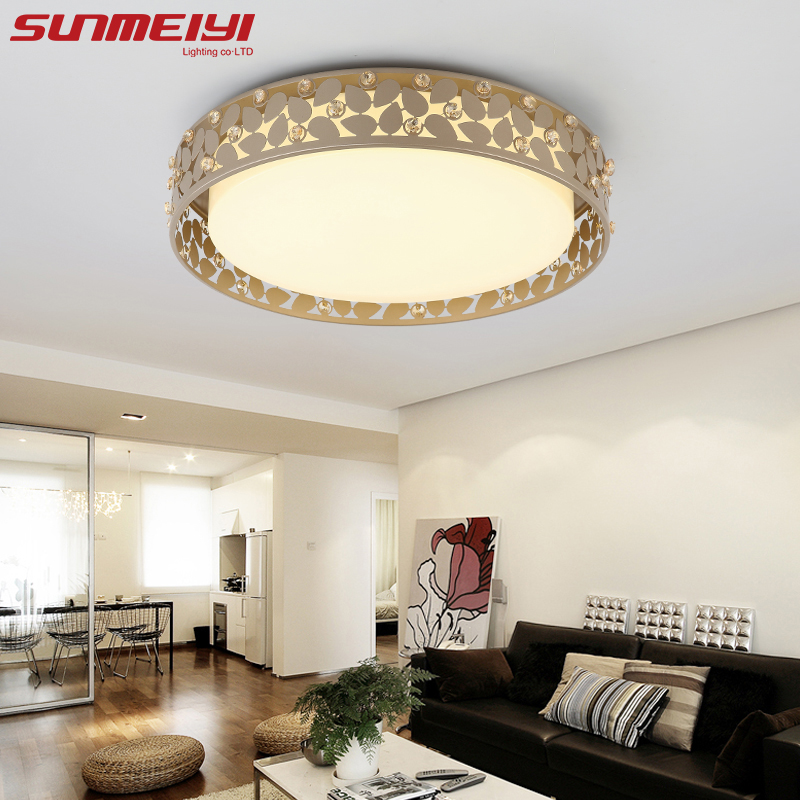 Nordic Round Led Ceiling Lights with Crystal plafonnier led moderne Living Room Study Lighting For Home