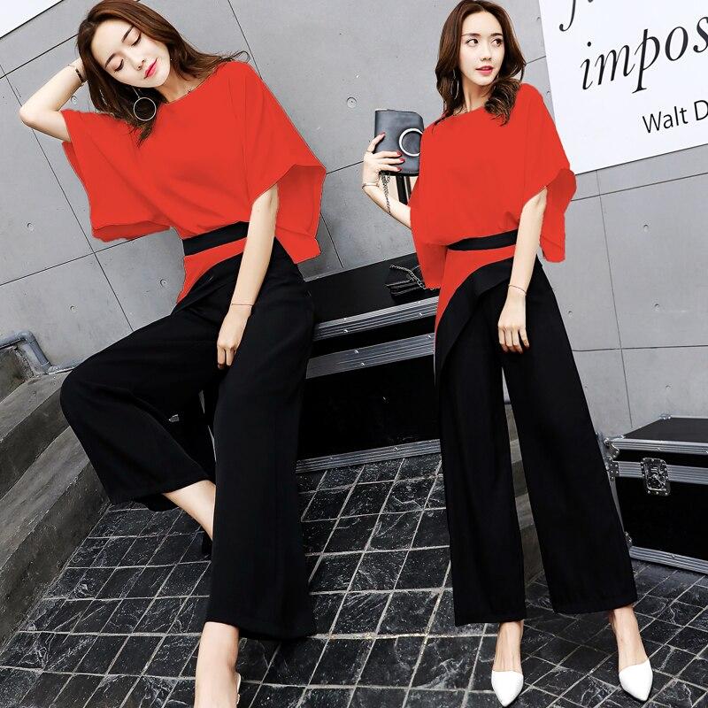 Femmes Ensemble Rouge Costumes Manches Printemps 2018 Pantalon Été À Lady souris Larges Chemise Jambes 2 blanc Pièces Chauve EYxfS