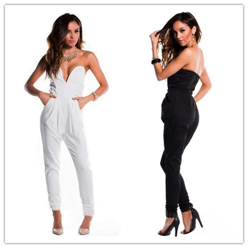 cfd7c866d75 Free shipping 2014 New Fashion women jumpsuit Sexy Black Fitted V Neck  Sleeveless Harem Pants Jumpsuit LC6584