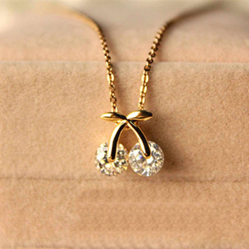White rhinestone crystal cherry cute short necklace female chain necklace  4ND60