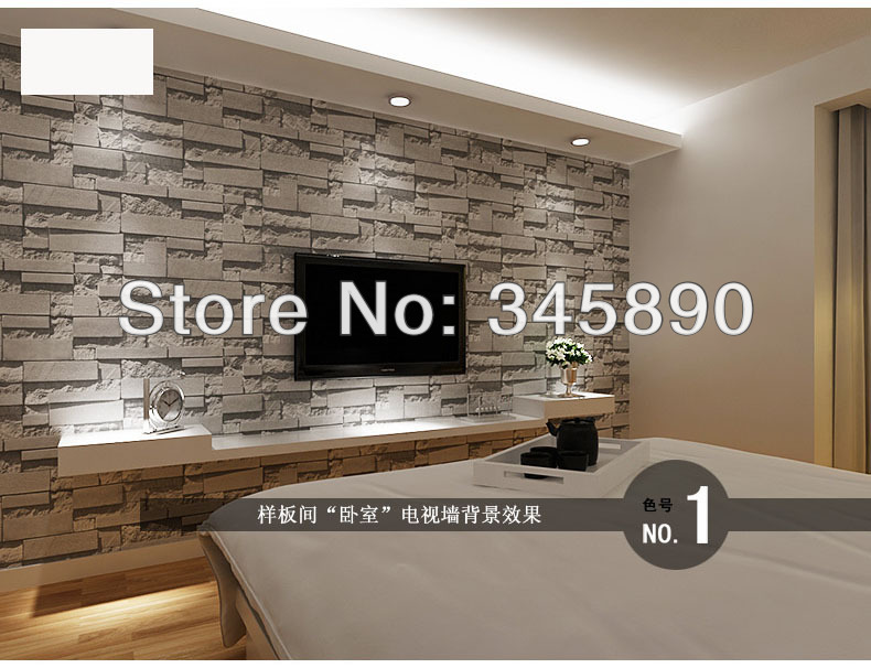 Free Shipping Thickening Wallpaper Brick Stone Tv