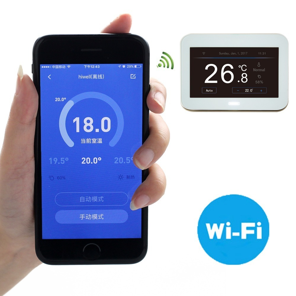 все цены на Free shipping WIFI color touch screen smart phone APP underfloor heating room thermostat 16A white glass panel онлайн