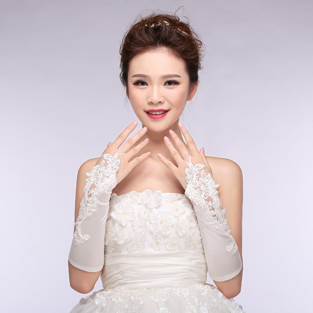 Maphia klength satiin frisado cotovelo luvas de noiva com rendas luvas de noiva de cristal de transporte rápido