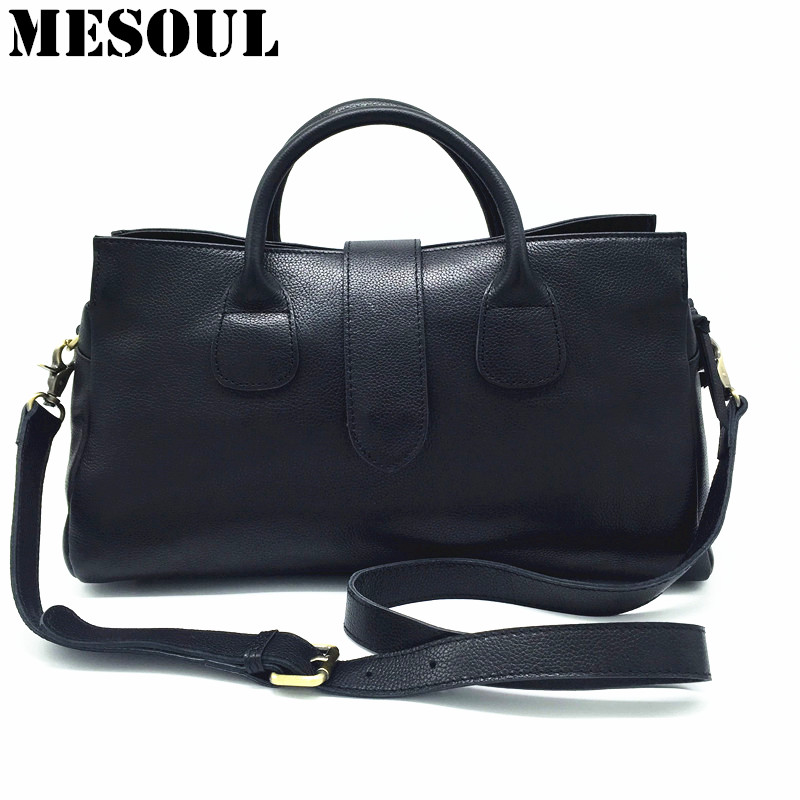 Famous Brand Handbag Women Tote 100% Genuine Leather Bag Classic Fashion Big Shoulder Bags Female Boston Black Designer Handbags women bag female handbags leather shoulder bag crossbody famous brand tote handbag round flower black cute small fashion bags