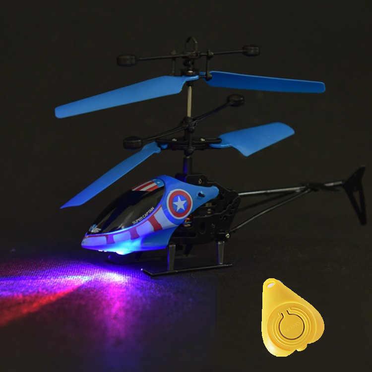 Mini helicóptero Rc Radio Control remoto avión canal Micro Drone luz LED luminosa vuelo Avión de inducción para regalo de niños