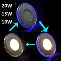 Acryl + glas dubbele kleur led-paneel licht 10 W 15 W 20 W acryl LED Verzonken Plafond Panel Down licht Koud Wit/Warm wit