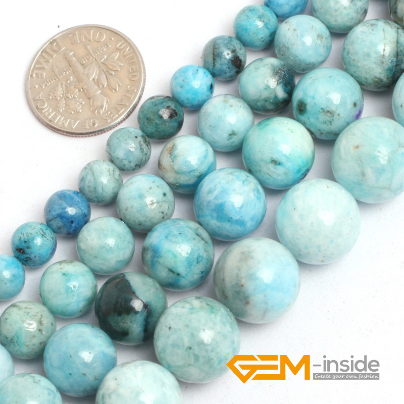 "Natural Stone Blue Hemimorphite Round Loose Beads For Jewelry Making Strand 15""DIY Bracelet Necklace Jewelry Making Beads"