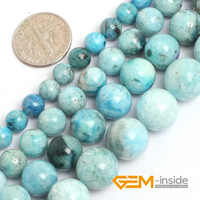 Natural Stone Blue Hemimorphite Round Loose Beads For Jewelry Making Strand 15