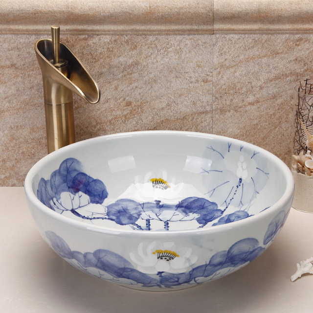 Jingdezhen Hand Paint Porcelain Blue And White Ceramic Bathroom Wash Basin  Sinks