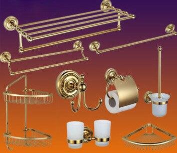 Роскошные Античное золото полированная латунь Ванная комната оборудование комплект Аксессуары для ванной комнаты, туалет Бумага держател