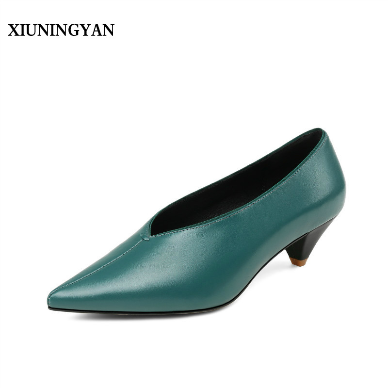 XIUNINGYAN Top Quality Spike Heels Slip on Office Flats Sexy Pointed Toe Genuine Leather Shoes Woman Fashion Dress Career Shoes sexy pointed toe slip on women slippers 2017 handmade embroidery leather flats dress shoes woman gladiator tassel casual shoes