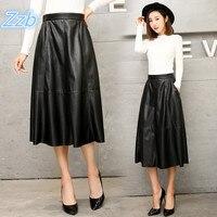 Japan style Leather Skirt Women 2018 New Pleated Skirts Woman Plus Size Natural Waist Black Mid Calf Length Falda de cuero