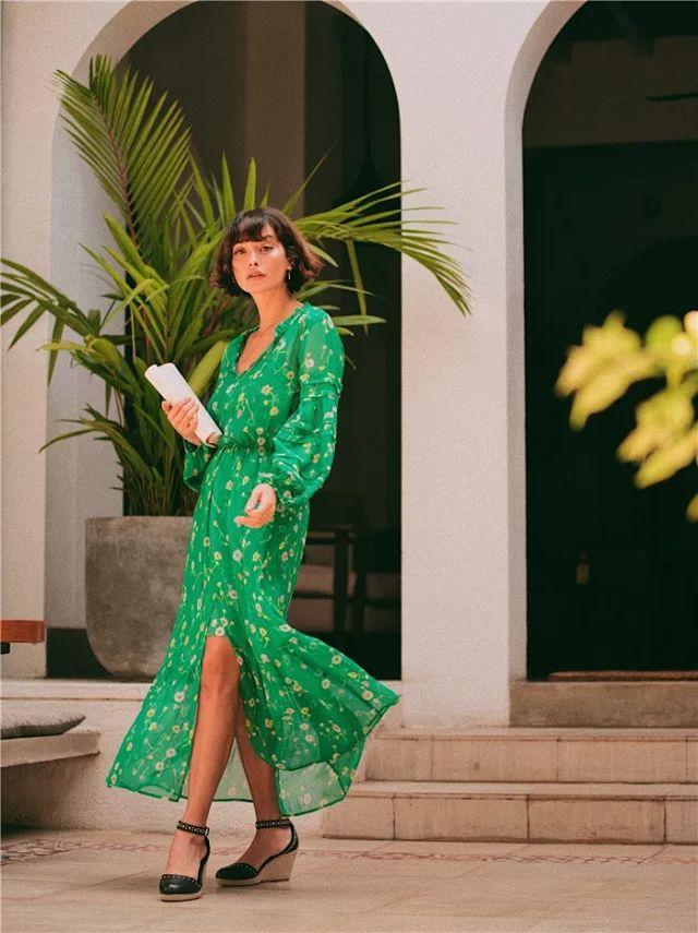 Femmes robe 2019 nouvelle robe en soie imprimée verte avec bretelles