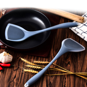 Translucence Food Grade Heat Resistant Cooking Utensils Wok Shovel Handle Turner Silicone Spatula Kitchen Dining Tools