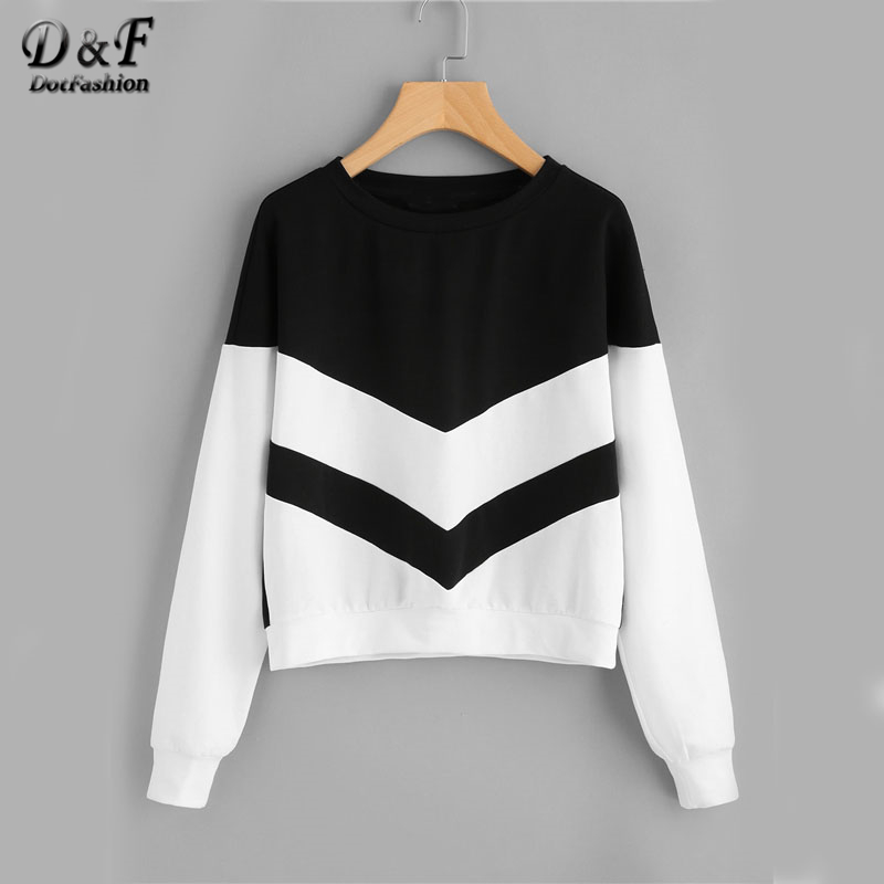 Dotfashion Two Tone Chevron Pullover Women Long Sleeve Patchwork Black And White Fashion Streetwear Sweatshirt