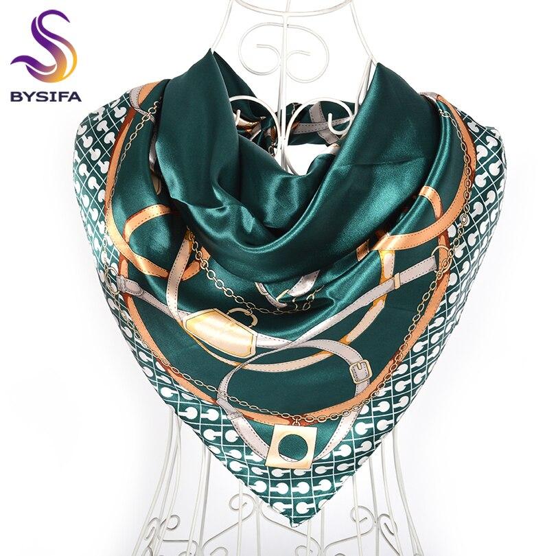 [BYSIFA] Hijab Scarf New Green Women Silk Scarf Shawl Luxury Brand Winter Square Scarves Kerchief Female Fall Muslim Head Scarfs