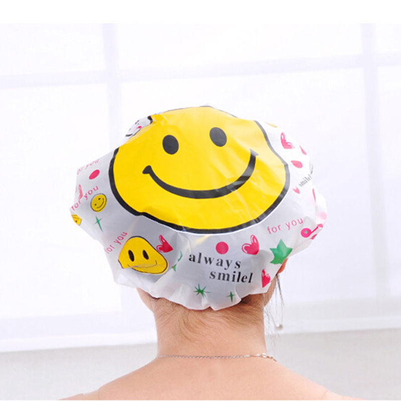 Elastic Waterproof Hats Women Ladies Clear Bath Spa Caps Comfortable Cartoon Shower Caps Bathing Bathroom Products