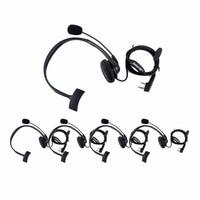 5pcs Retevis 2 PIN Headset PTT Mic Headphone Walkie Talkie Accessories For Kenwood For Baofeng UV5R