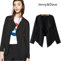 Дженни и Дэйв 2018 feminino Повседневное Твердые Асимметричная Открыть стежка ни английский стиль пиджаки женские пиджак Большие размеры 0914