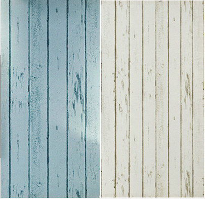Home Decor Blue White Wood Panel Non Woven Wallpaper Roll Natural Rustic Scrapwood Woodboard
