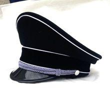 Men's WW2 German Elite Infantry Officers Wool Visor Cap Hat Field Black  IN SIZES