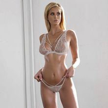 European 2017 Summer sexy white underwear women bralette lace bra set string hot intimates brief sets Wire free lingerie ladies