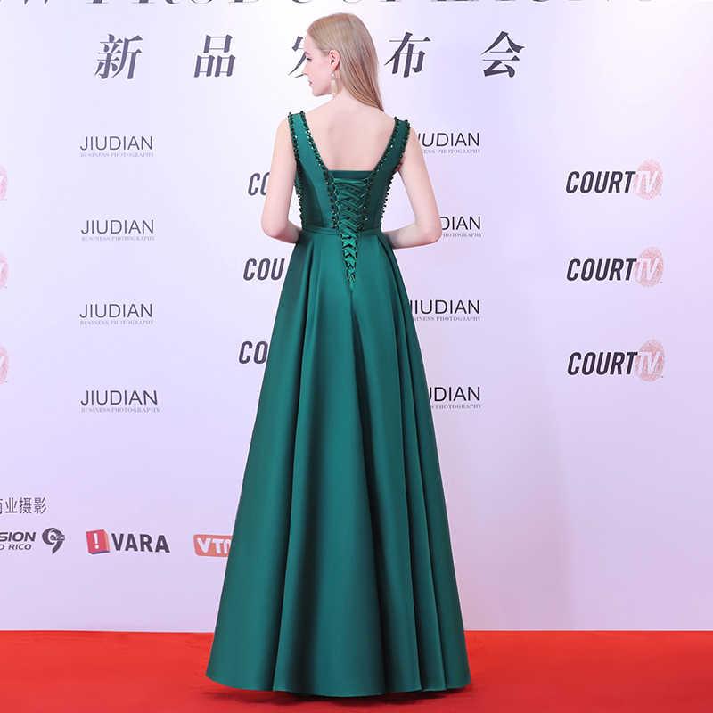 Ladybeauty 2019 חדש V-צוואר חרוזים ללא משענת קו ארוך שמלת ערב המפלגה אלגנטי Vestido דה Festa מהיר חינם לנשף שמלות